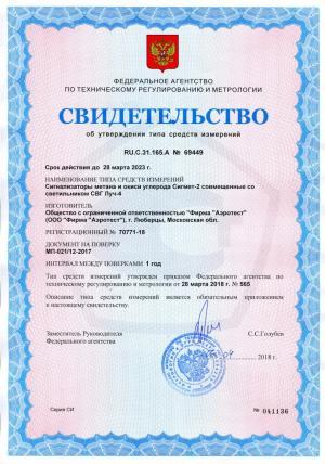 Свидетельство об утверждение типа сигнализатора Сигмет-2